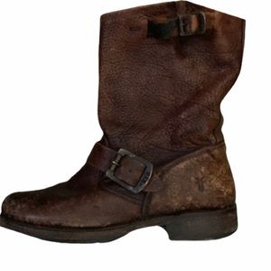 FRYE Veronica Slouchy Short Boot Distressed Brown